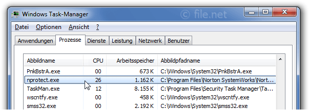 Windows Task-Manager mit nprotect