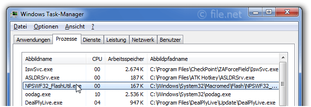 Windows Task-Manager mit NPSWF32_FlashUtil