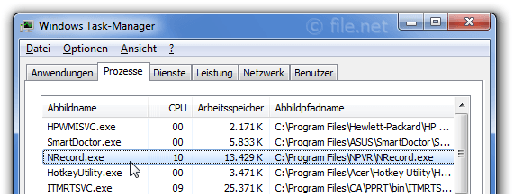 Windows Task-Manager mit NRecord