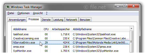 Windows Task-Manager mit NServiceEntry