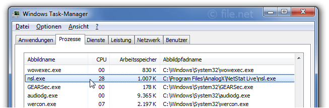 Windows Task-Manager mit nsl