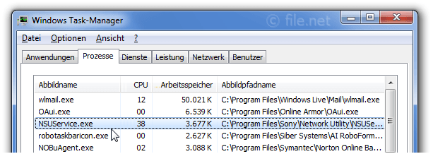 Windows Task-Manager mit NSUService
