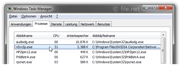 Windows Task-Manager mit nSvcIp