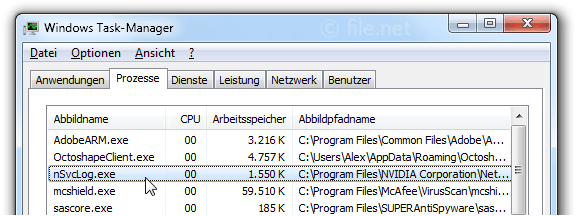 Windows Task-Manager mit nSvcLog