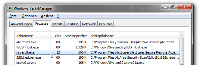 Windows Task-Manager mit nsverctl