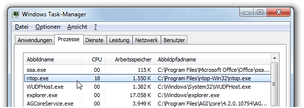 Windows Task-Manager mit ntop
