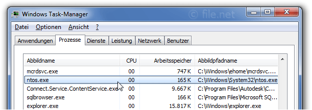 Windows Task-Manager mit ntos