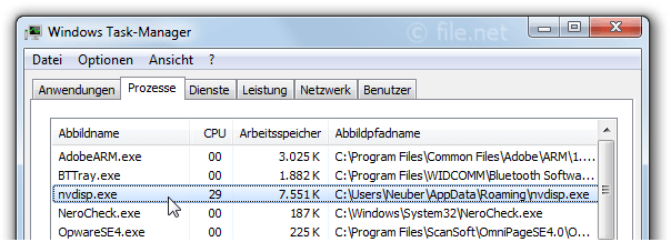 Windows Task-Manager mit nvdisp