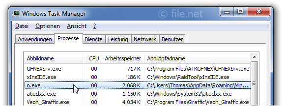 Windows Task-Manager mit o