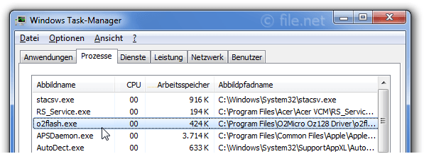 Windows Task-Manager mit o2flash