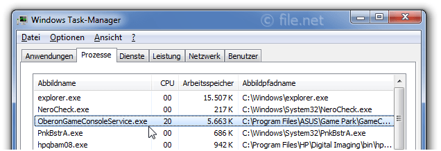 Windows Task-Manager mit OberonGameConsoleService