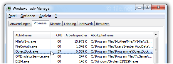 Windows Task-Manager mit ObjectDock