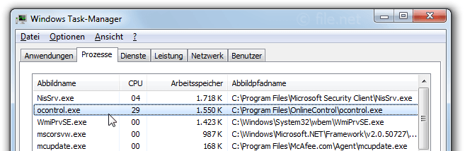 Windows Task-Manager mit ocontrol