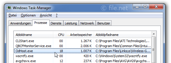 Windows Task-Manager mit OdHost
