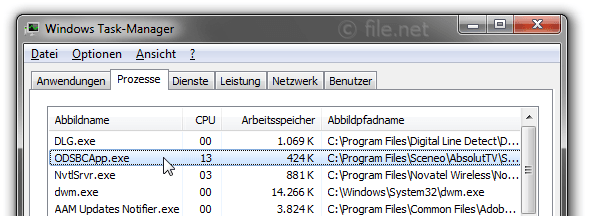 Windows Task-Manager mit ODSBCApp