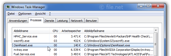 Windows Task-Manager mit OemReset