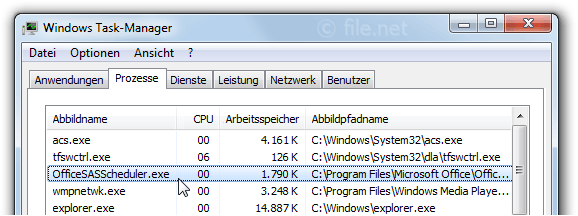 Windows Task-Manager mit OfficeSASScheduler