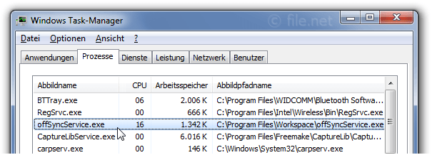 Windows Task-Manager mit offSyncService