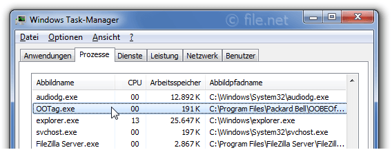 Windows Task-Manager mit OOTag