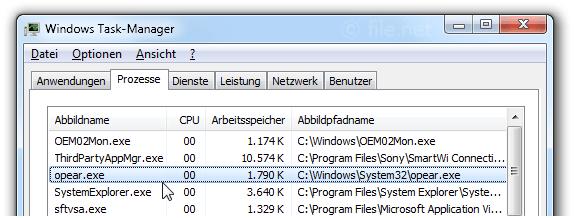 Windows Task-Manager mit opear