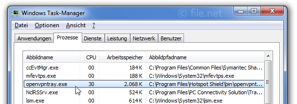 Windows Task-Manager mit openvpntray