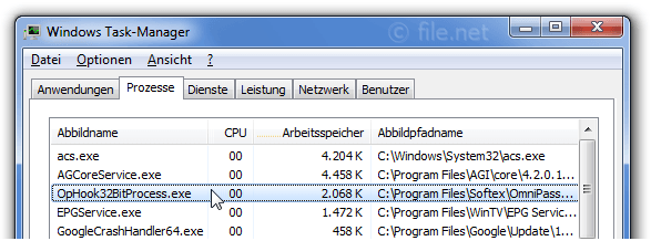 Windows Task-Manager mit OpHook32BitProcess