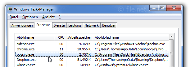 Windows Task-Manager mit opssvc