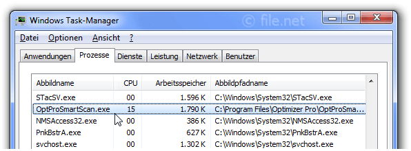 Windows Task-Manager mit OptProSmartScan