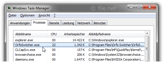 Windows Task-Manager mit orfoswitcher