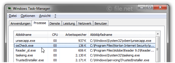 Windows Task-Manager mit osCheck