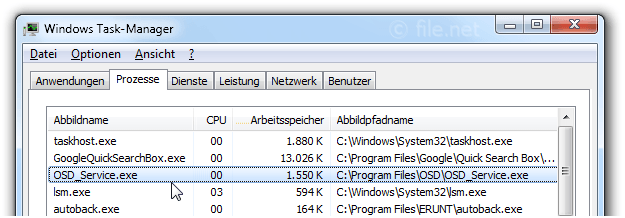 Windows Task-Manager mit OSD_Service