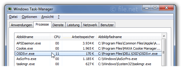 Windows Task-Manager mit OSDSvr