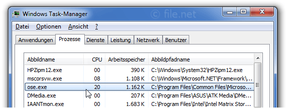 Windows Task-Manager mit ose