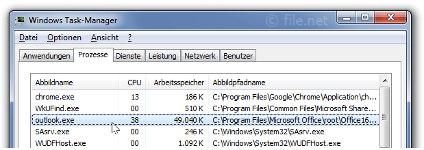 Windows Task-Manager mit outlook