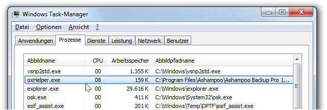 Windows Task-Manager mit oxHelper