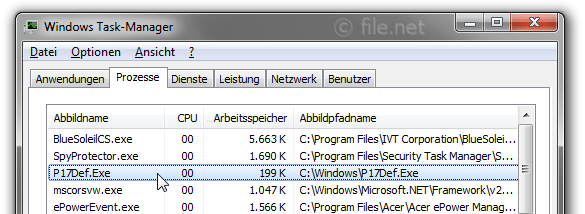 Windows Task-Manager mit P17Def