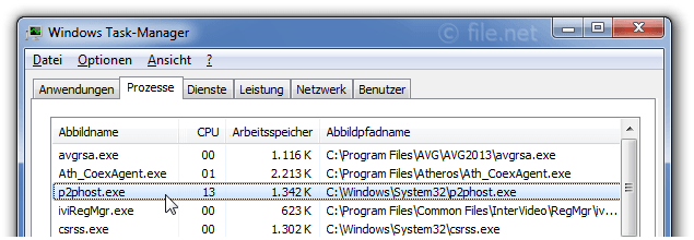 Windows Task-Manager mit p2phost