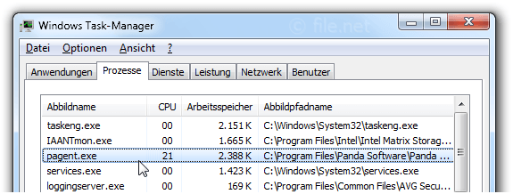 Windows Task-Manager mit pagent