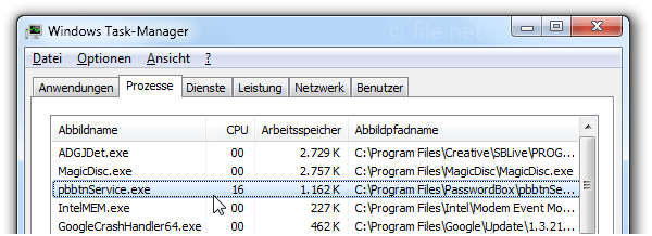 Windows Task-Manager mit pbbtnService