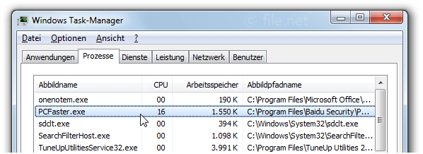 Windows Task-Manager mit PCFaster