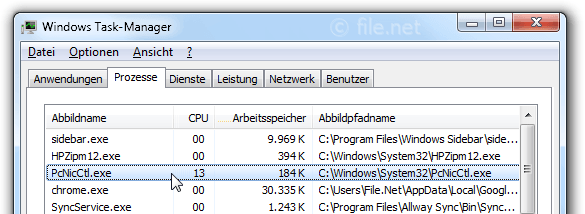 Windows Task-Manager mit PcNicCtl