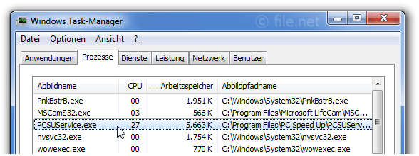 Windows Task-Manager mit PCSUService