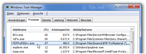 Windows Task-Manager mit PDFProFiltSrv