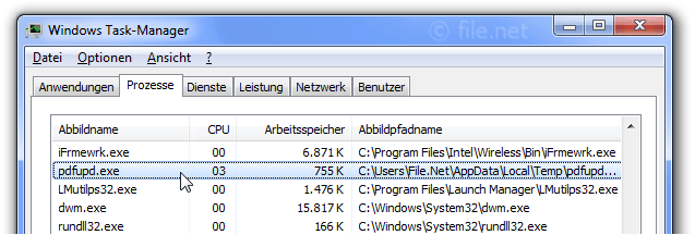 Windows Task-Manager mit pdfupd