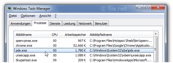 Windows Task-Manager mit pds