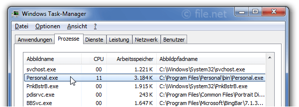 Windows Task-Manager mit Personal
