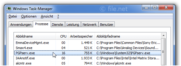 Windows Task-Manager mit PGPserv