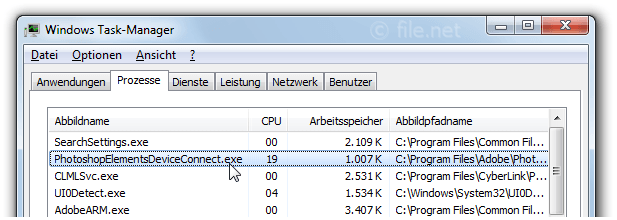 Windows Task-Manager mit PhotoshopElementsDeviceConnect