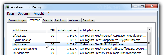 Windows Task-Manager mit picpick