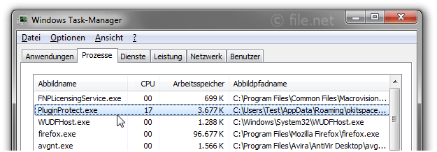 Windows Task-Manager mit PluginProtect